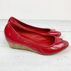 Cole Haan Elsie Red Open Toe Cork Wedge Heels 8.5